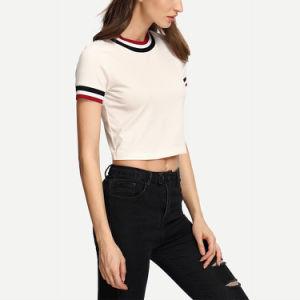 줄무늬 대원 목 간결 소매 작물 t-셔츠