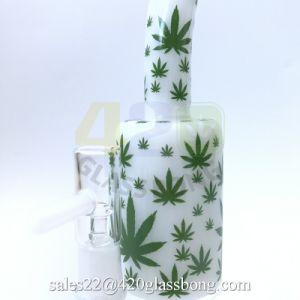Glaspfeife-Öl-Brenner-Wasser-Rohr-Tabak-Rohr mit Tabak-Blatt-Aufklebern