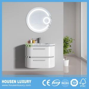 2018 Hot interruptor táctil LED Lupa High-Gloss espejo redondo de PVC Pintura tocadores de baño de arco de HS-O1103-600