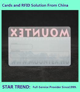 Scheda trasparente stampata della radura della scheda con il disegno di adattamento per il commercio