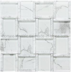 Precio al por mayor mezcla de Vidrio blanco de Carrara azulejos de mosaico para paredes de piedra