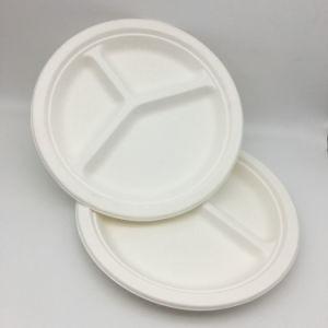 3 compartiments de 10 pouces de la plaque de bagasse de canne à sucre biodégradable