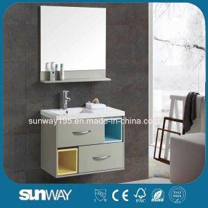 An der Wand befestigte wasserdichte MDF-Badezimmer-Möbel mit keramischem Bassin