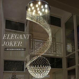Moderner Glanz-große dekorative Form-und große lange Kristallhängende helle Wohnzimmer-Spirale-hängende Lampe der treppen-LED