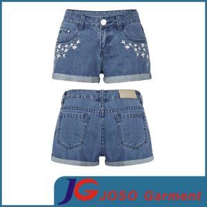Señoras bordado denim shorts (JC6036)