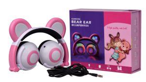 Oso de dibujos animados oreja auriculares Chargble plegable con luz de color para niñas regalo Chritmas