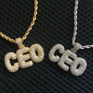 도매 힙합 보석은 다이아몬드 CZ 처음 CEO 925 순은 거품 편지 펜던트를 주문 설계한다