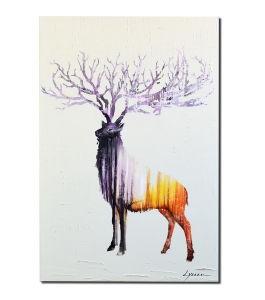 Pittura a olio animale moderna sulla pittura decorativa dei cervi degli alci della tela di canapa
