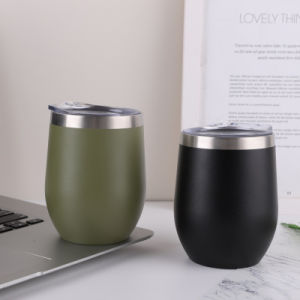 12oz, 8oz Parede dupla com isolamento de aço inoxidável Vinho Ovo de metal reutilizável copos basculante com tampas para bebidas, chávena de café