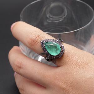 Fashion Deluxe queda de água de anel de diamantes jóias Electroplated do anel de metal preta Icestone Anel de vidro