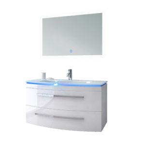 El cuarto de baño Lavabo armario de espejo montado en el piso con luz LED