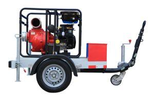 Remorque 20HP 6pouce de l'eau de pompage de l'essence de la machine centrifuge Pompe à eau de la corbeille