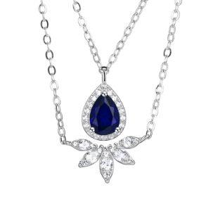 925 Joyería de Plata Collar de piedra artificial con Sapphine Bisutería