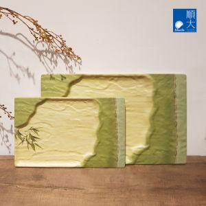 Vaisselle Surface mate sécurité durables en plastique vert bambou 14x9 pouces Rectangle distinctif de mélamine/plaque rectangulaire