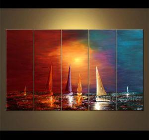 Olieverfschilderij van de Boot van het zeegezicht het Varende