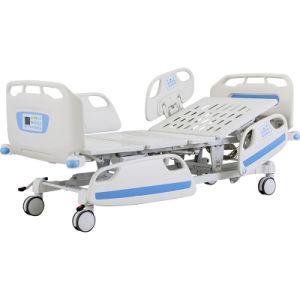 Fonction 5 en métal d'usine de pliage mobilier médical patient électrique réglable avec roulettes lit d'hôpital de soins infirmiers