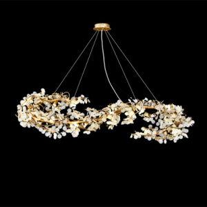 Lámpara de araña de cobre Salón lámpara colgante de cristal modernos LED Lámpara Luz
