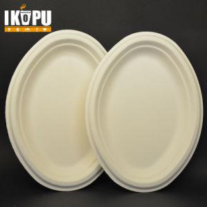 Ecofriendly la pâte à papier Les plaques de forme ovale de bagasse de canne à sucre