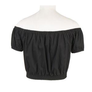 T Shirt personalizada a planície de ombro de mulheres negras Crop tops