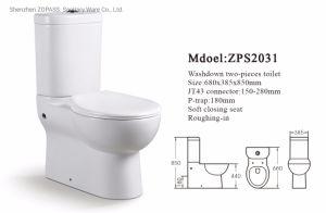 Precio barato cuarto de baño Wc de dos piezas de separar el agua de lavado Lavado de cerámica de armario de la trampa de wc Precio P