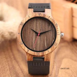 Café Retro Dial Men's Watch reloj de cuarzo analógico de Madera Natural de cuero auténtico macho de cuarzo de la banda de reloj de Madera relojes para hombres -V214