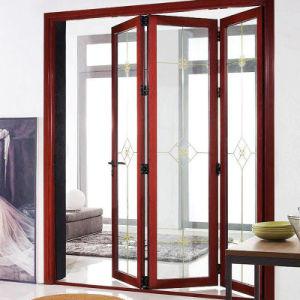 Portelli di piegatura di vetro di alluminio di colore di legno del grano doppi