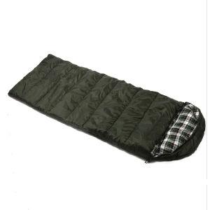 延ばされていた広げられた空の綿の寝袋