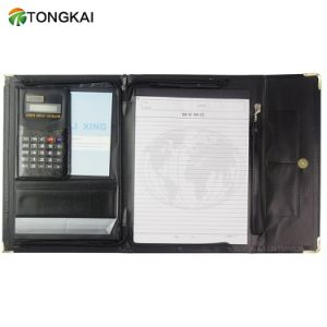 A4-papier de Omslag van het Dossier van het Leer van de Organisator met Calculator