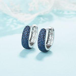 Fashion 925 Sterling Silver Sapphire Earring Bijoux