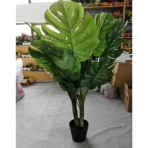 Palmera artificial artificial árbol de hoja de tortuga, falsos Monstera deliciosa planta en maceta en interiores y exteriores decoración de oficina en casa