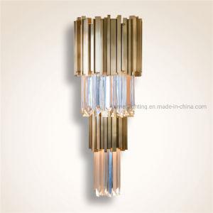 Simplicidad moderna de metal dorado Cristal Lampara de pared para el hogar decoración del hotel