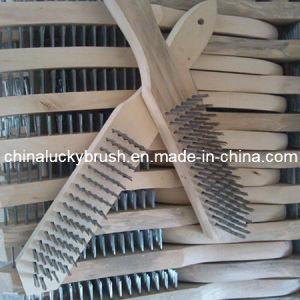 Spazzola di filo di acciaio di lucidatura della manopola di legno di alta qualità (YY-085)