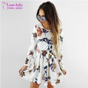 Imprimé floral blanc Mini robe à manchon long
