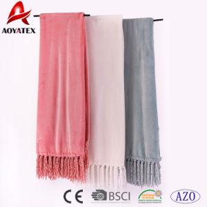 La alta calidad Super suave franela Color sólido manta polar con borla