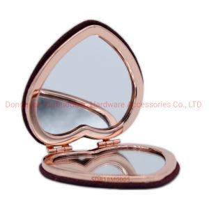 La personnalisation flocage PU forme de coeur Miroir de poche de pliage miroir de maquillage