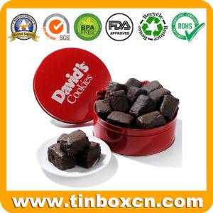 Chocolate de metal redondo con ventana de PVC, Chocolate tin box