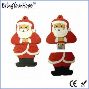 Кожаный чехол ПВХ стиль Санта Клауса флэш-накопитель USB (XH-USB-037)
