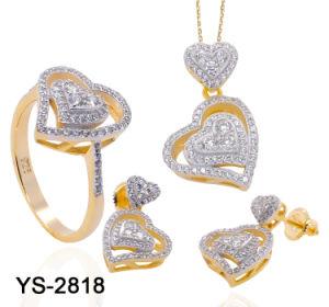Оптовая торговля моды устраивающих украшения 14k позолоченными контактами 925 серебристые или латунной Diamond сердце украшения для свадьбы