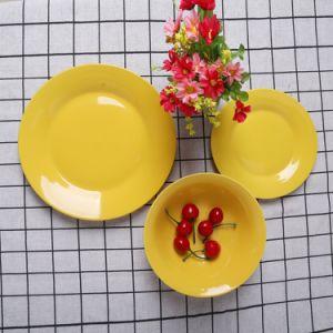 Western style populaire jeu de la vaisselle en porcelaine de couleur jaune