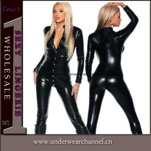 Entrega rápida de cuero negro Clubwear cuerpo látex Catsuit Jumpsuit (TYLM77)
