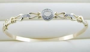 braccialetto dell'oro giallo 10K con il diamante (LBAD1007)