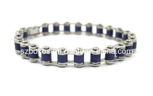 Reizend Edelstahl-/Titanarmband mit blauem Gummi. (STB-311SR)
