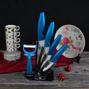 5 قطعة خزفيّ مطبخ [نيف] مجموعة مع زرقاء معدنة مقبض