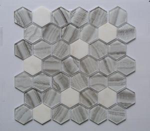 El patrón hexagonal Mezcla de vidrio baldosa mosaico de mármol