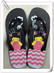 2018 Commerce de gros bon marché pantoufles personnalisé Cartoon Beach Flip Flops