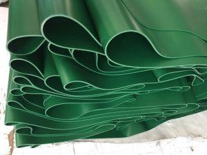 Verde manzana, telas de tejido 2 / 2 capas de revestimiento, 2mm de espesor, 2m de ancho *100m de longitud, Matt, PVC/PE/PU/TPE/SL TRANSPORTADOR