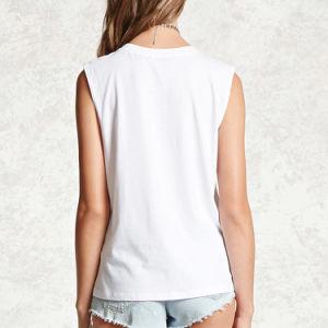 대원 목 소매 없는 여자 백색 t-셔츠