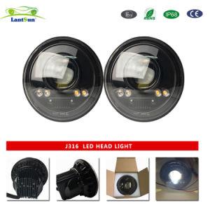 7インチ円形LEDのヘッドライトのジープのための天使の目が付いているハイ・ロービームヘッドランプ