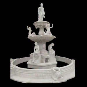 Estátua de decoração de jardim de esculturas de mármore branco Chafariz de Pedra