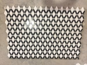 Thassos blanco de Carrara y entramado de mármol blanco con rayas negras Mosaico